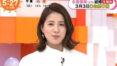 永島アナの結婚を報告しためざましテレビの永島アナの画像