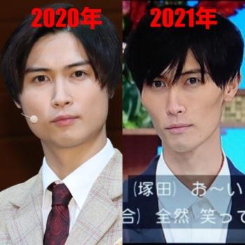 橋本良亮2021年と2020年の画像比較