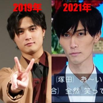 橋本良亮2021年と2019年の画像比較